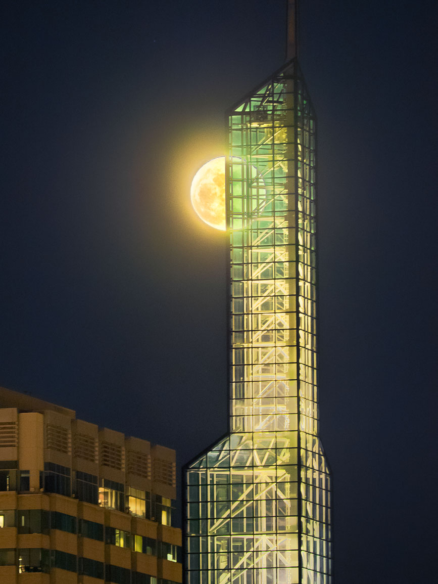 Oregon Convention Center, Portland and the Moon.